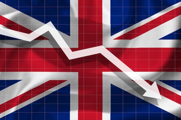 Witte pijl valt tegen de achtergrond van de vlag van het verenigd koninkrijk