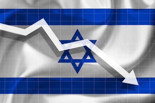 Witte pijl valt tegen de achtergrond van de vlag van israël