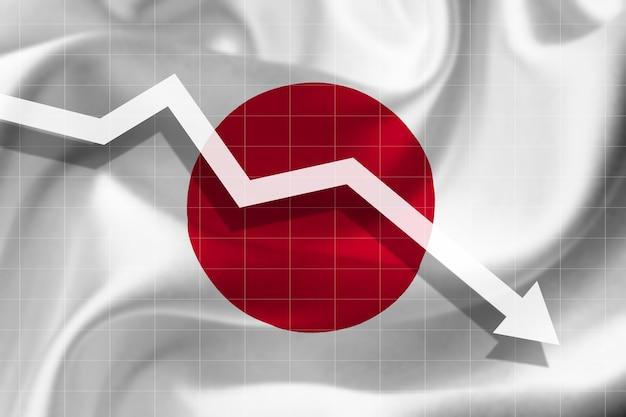 Witte pijl valt tegen de achtergrond van de vlag van japan