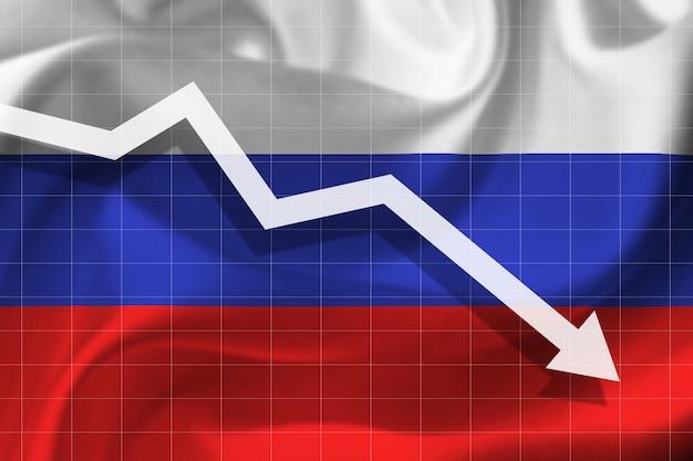 Witte pijl valt tegen de achtergrond van de vlag van rusland