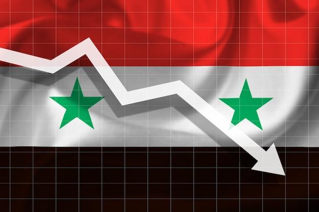Witte pijl valt tegen de achtergrond van de vlag van syrië