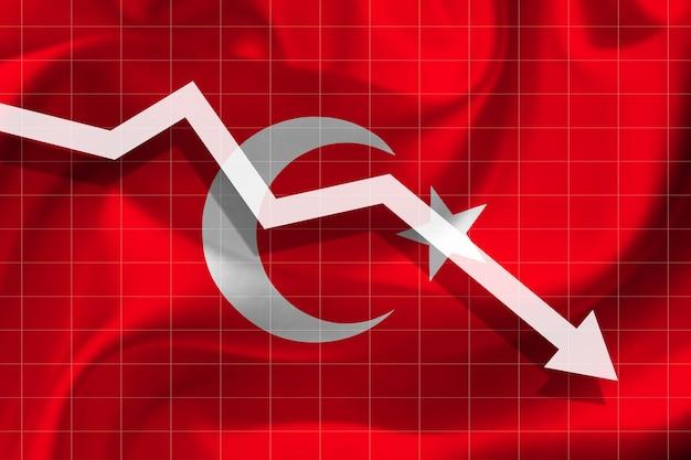 Witte pijl valt tegen de achtergrond van de vlag van turkije