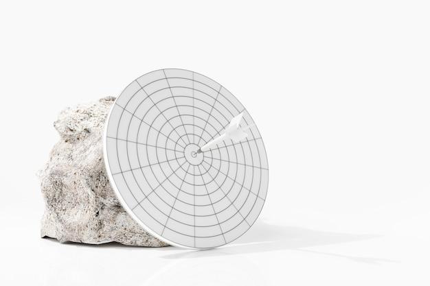 Witte pijlen krijgen de witte steen en witte pijlen in het midden van het doel. 3d-weergave.