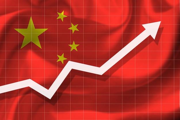 Witte pijlgroei omhoog op de achtergrond van de vlag van china