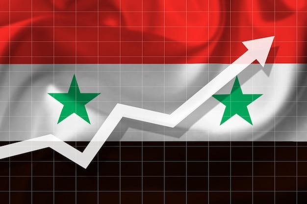 Witte pijlgroei omhoog op de achtergrond van de vlag van syrië