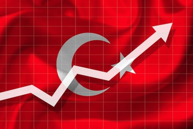 Witte pijlgroei omhoog op de achtergrond van de vlag van turkije