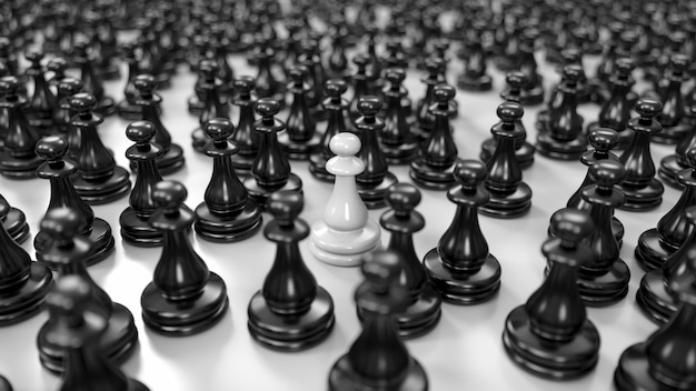 Witte pion staat tussen een enorme menigte zwarte pionnen in 3d illustratie