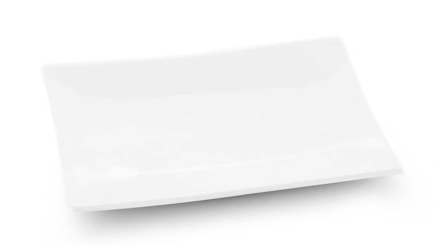 Witte plaat geïsoleerd op wit.