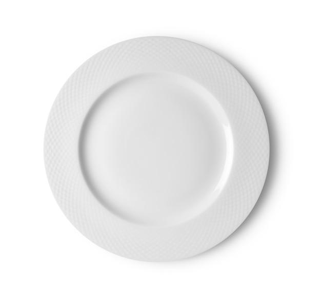Witte plaat op wit. bovenaanzicht