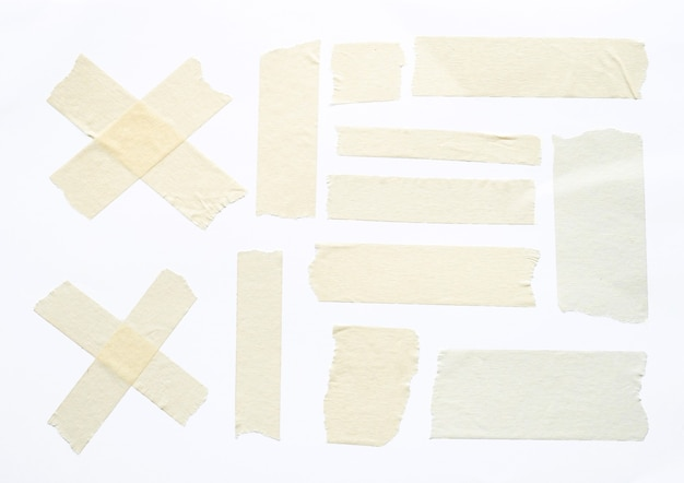Witte plakband set geïsoleerd op een witte achtergrond