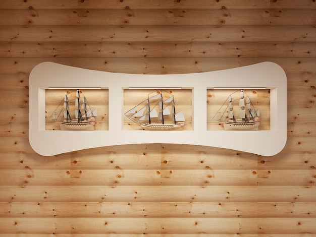 Witte planken met nissen met modellen van zeeschepen op de houten muur
