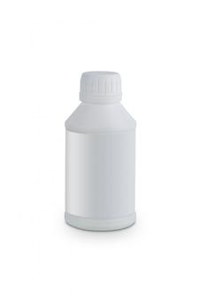 Witte plastic container voor motorolie producten geïsoleerd op wit