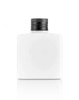 Witte plastic fles voor cosmetische of toiletartikelen