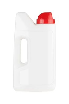 Witte plastic wasmiddelfles mock-up met lege ruimte voor jouw ontwerp op een witte achtergrond