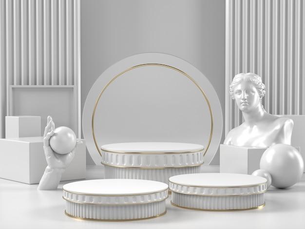 Witte podiumstandaard en klassiek romeins element voor schoonheidscosmetica of een ander merk.