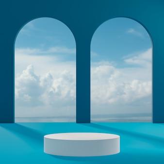 Witte podiumtribune op blauwe hemel