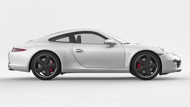 Witte porsche 911 driedimensionale rasterillustratie op een witte achtergrond. 3d-rendering.