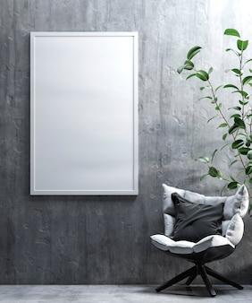 Witte poster in het interieur van de kamer