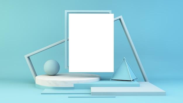 Witte poster op blauw podium