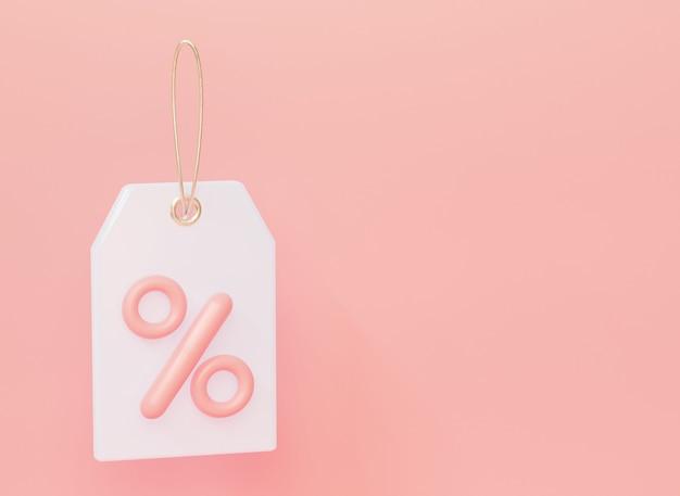 Witte prijskaartje label met percentage. op pastelroze achtergrond. 3d-rendering.