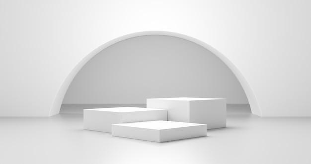 Witte productachtergrond en lege lege ruimte abstracte ontwerpsjabloonweergave op moderne platformpodium interieur lichte achtergrond podiumscène met reclamestandaard showcase studioruimte. 3d-weergave.