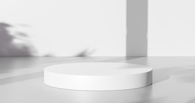 Witte productachtergrond of lege lege ruimte kamerontwerp en raamlicht minimale schaduwweergave platform podium op interieur podium voetstuk scène achtergrond stand met studio showcase. 3d render.
