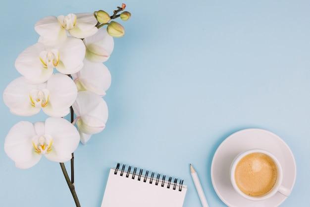 Witte pure orchideebloem; spiraalvormige blocnote; potlood en koffiekop op blauwe achtergrond