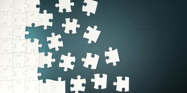 Witte puzzelstukjes op blauwe achtergrond