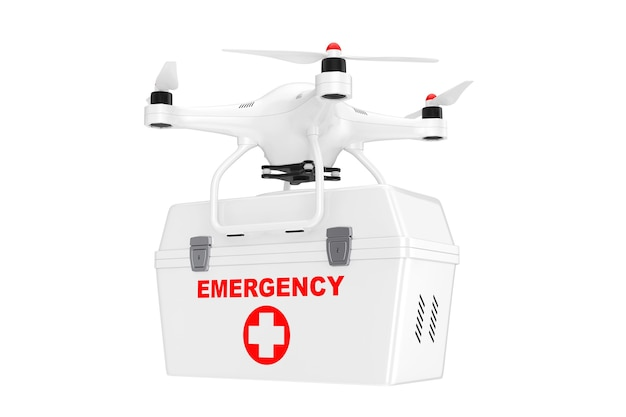 Witte quadrocopter drone met medische noodkit op een witte achtergrond. 3d-rendering