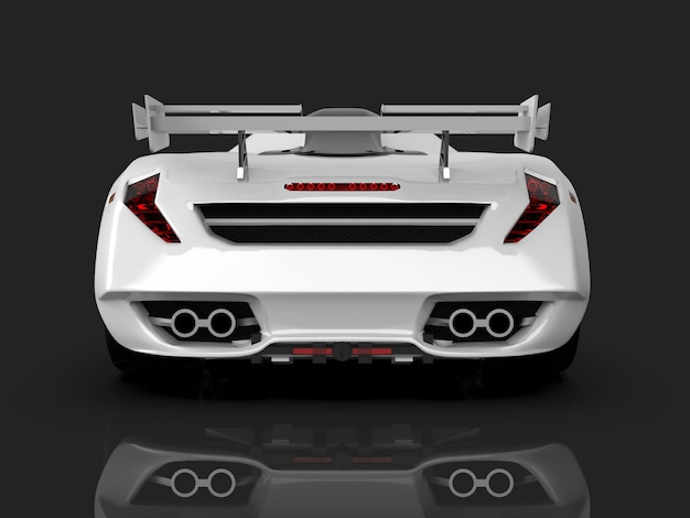 Witte race-conceptauto. afbeelding van een auto op een grijze glanzende achtergrond. 3d-rendering.