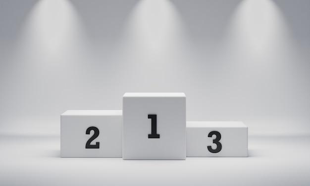 Witte rechthoek kubus winnaar podium op schijnwerpers