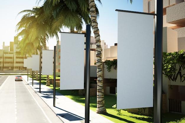 Witte reclamevlaggen op straat