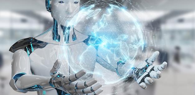 Witte robot die het digitale hologram van de gebiedsverbinding 3d teruggeven gebruiken