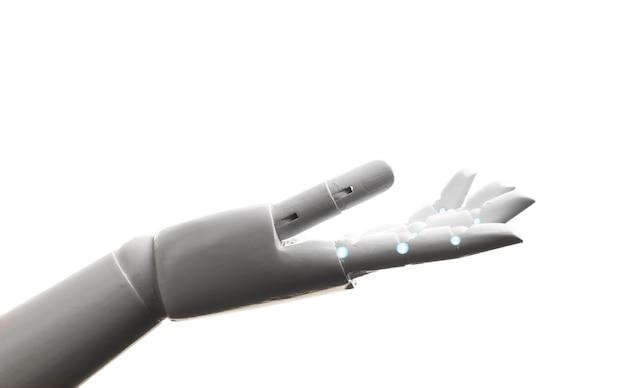 Witte robot hand open gebaar geïsoleerd op een witte achtergrond