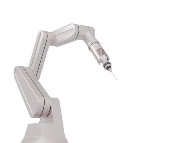 Witte robotarmen met lege ruimte op een witte achtergrond, 3d-rendering.
