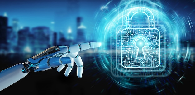 Witte robothand die het digitale gegevens 3d teruggeven beveiligen