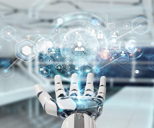 Witte robothand die het digitale scherminterface 3d teruggeven gebruiken
