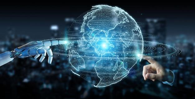 Witte robothand die het hologram van het bolnetwerk met de kaart van amerika de vs het 3d teruggeven gebruiken