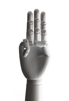 Witte robothand die op witte achtergrond wordt geïsoleerd