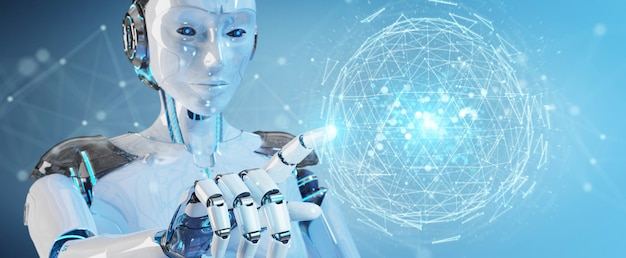 Witte robotvrouw die het digitale hologram van het driehoeks exploderende gebied 3d teruggeven gebruiken