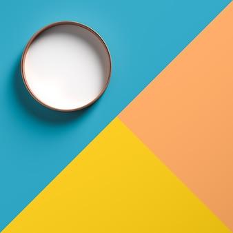 Witte ronde bovenkant op dozen in drie kleurschakeringen.