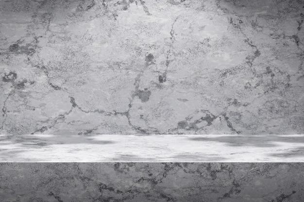 Witte scèneachtergronden en marmeren productvertoning op grijze achtergrond met zonnige lichte studio. leeg voetstuk of podiumplatform. 3d-weergave.