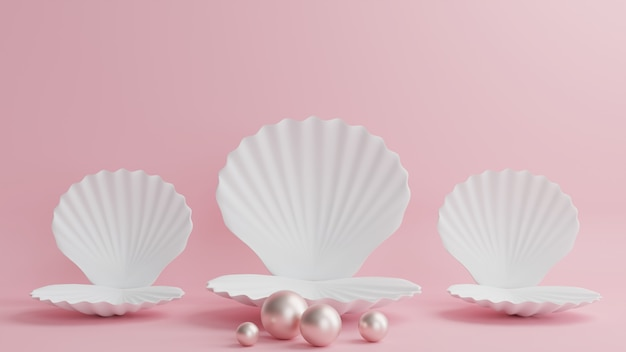 Witte schelp podium met parels op een mooie roze achtergrond