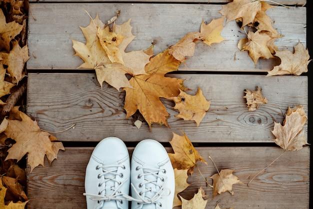 Witte schoenen van een persoon die een herfstwandeling in het park maakt. gele esdoornbladeren op de weg