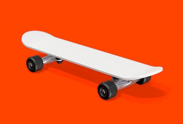 Witte skateboard 3d-rendering.