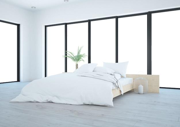 Witte slaapkamer met grote terrasramen