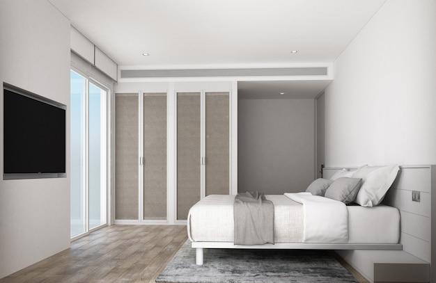 Witte slaapkamer met houten meubels en vloer