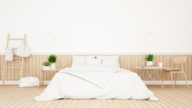 Witte slaapkamer of logeerkamer van hotel minimaal ontwerp - het 3d teruggeven