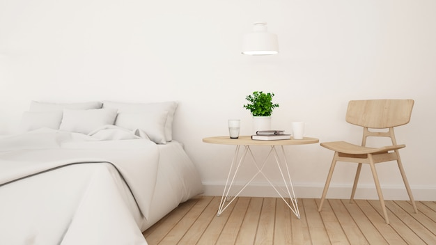 Witte slaapkamer of logeerkamer voor hotel minimaal ontwerp - het 3d teruggeven