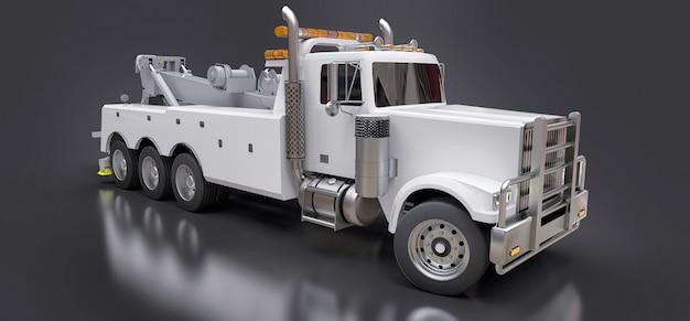 Witte sleepwagen om andere grote vrachtwagens of verschillende zware machines te vervoeren. 3d-rendering.